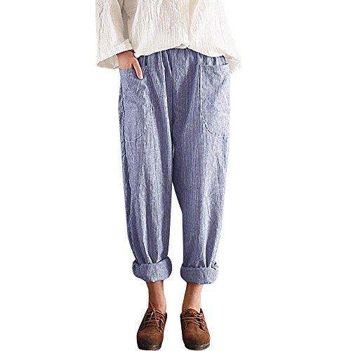 Lazzboy Frauen hohe Taille Vintage gestreifte lose Baumwolle Leinen Lange Hosen Pluderhosen(Blau,S)