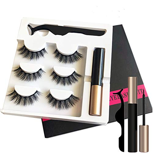 Magnetic Eyeliner and Lashes Magnetic Eyelashes Kit [3 Pairs] with Tweezers.No Glue Reusable Silk False Lashes, Easier To Use Than Traditional Magnetic Eyelashes. (018)