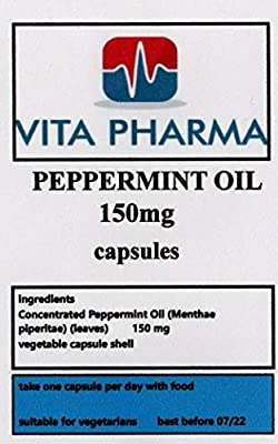 Peppermint Oil high Strength 150mg 60 Capsules, Digestive Health, Heartburn, Soothing