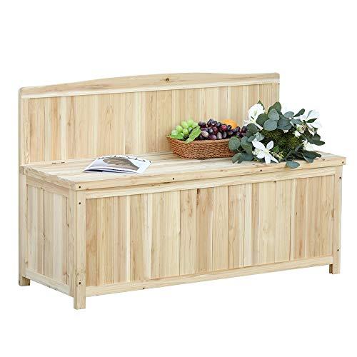 Outsunny Gartenbank mit Stauraum Truhenbank Sitzbank 2-Sitzer 250 kg Belastbarkeit Natur Tanneholz 115 x 45 x 75 cm