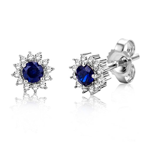 Miore Sapphire and Diamond Earrings for women in White gold 9 karat (375) Studs with Brilliant cut diamonds 0.10 carat - size 6 mm