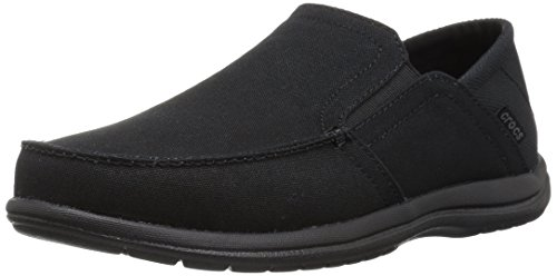Crocs Men's Santa Cruz Convertible Slip On Loafer Casual Shoes Flat, Black/Black, 10 M US