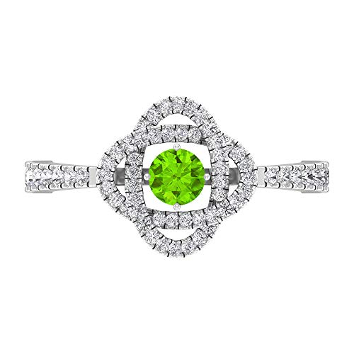 Anillo de compromiso de 4 mm creado en laboratorio de kryptonita, anillo de compromiso con halo de diamantes HI-SI, 14K White Gold, Lab Created Kryptonite, Size:US 54