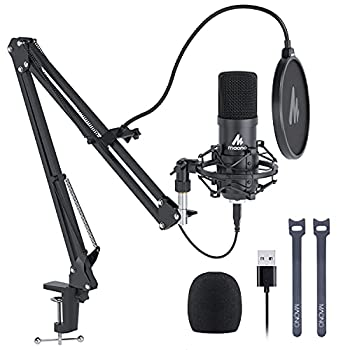USB Microphone MAONO 192KHZ/24Bit Plug & Play PC Computer Podcast Condenser Cardioid Metal Mic Kit with Professional Sound Chipset for Recording Gaming Singing YouTube  AU-A04