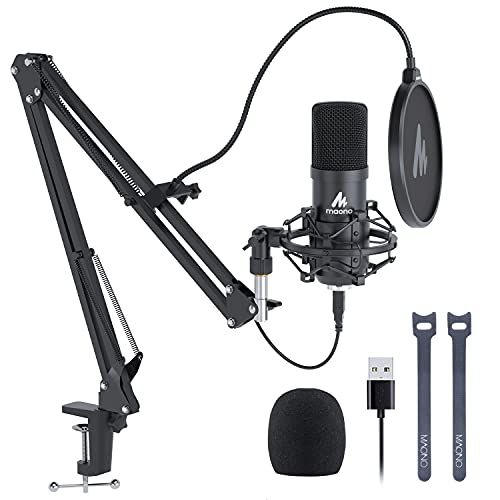 Microfone USB MAONO 192 KHZ/24 bits Plug & Play PC computador podcast condensador cardioide kit de microfone de metal com chipset de som profissional para gravação, jogos, cantar, YouTube (AU-A04)