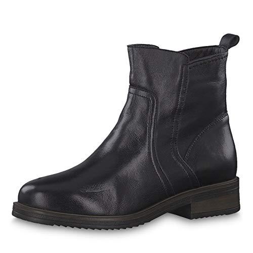 Tamaris Damen Stiefeletten 26491-23, Frauen Stiefelette, Freizeit Stiefel Boots halbstiefel Damenstiefelette Bootie Damen,Black Leather,37 EU / 4 UK