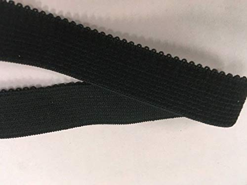 Bra Strap Elastic Plush Back Matte Bra Elastic 3/4 Black 2 Yards #ID-659