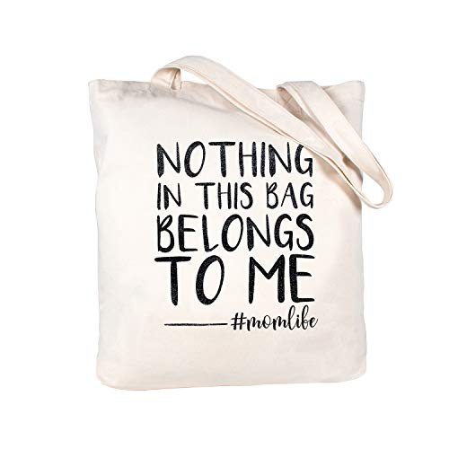 ElegantPark Funny Mom Gifts Mothers Day Gifts for New Mom Christmas Birthday Gifts for Mom Canvas Cotton Mom Tote Bag With Interior Pocket