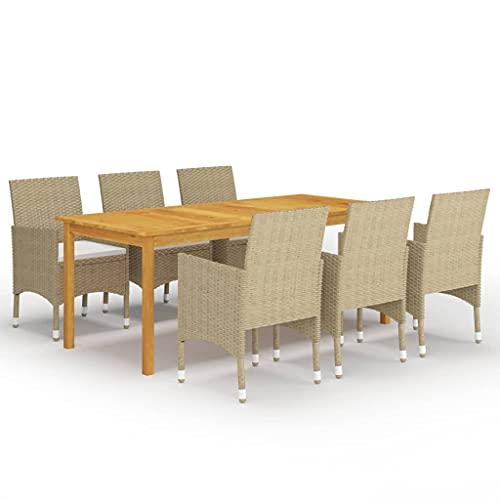 vidaXL Juego de Comedor de Jardín de 7 Piezas Muebles Mobiliario Exterior Terraza Hogar Cocina Mesa Silla Asiento Suave con Respaldo Beige