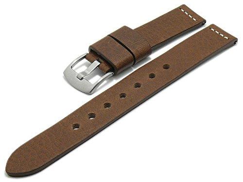 Meyhofer EASY-CLICK Uhrenarmband Sequoia XL 24mm Dunkelbraun Leder Antik-Look helle Naht...