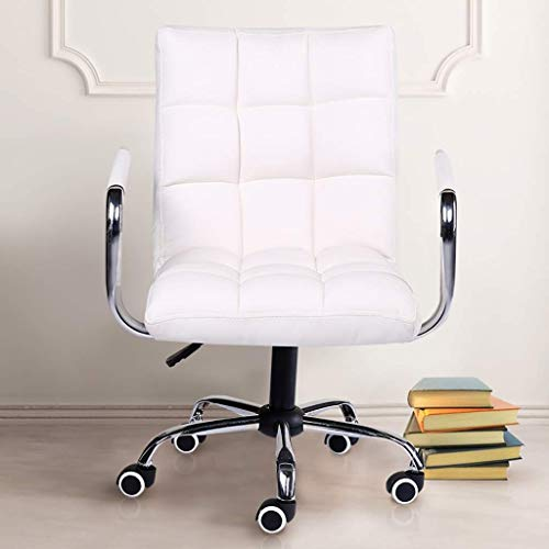 LMDC Flash Furniture Poltrona direzionale Girevole in Pelle con Schienale Medio con Struttura e braccioli (Color : White)