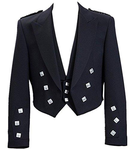 Lucasini Herren Kilt Jacke mit Weste, Motiv Schottischer Prinz Charlie, Herren, schwarz, 46R