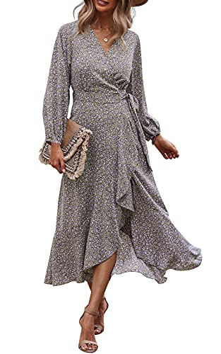 PRETTYGARDEN Women's Long Sleeve Vintage Wrap Dress Floral Print V-Neck Maxi Dresses with Belt (Khaki, Medium)