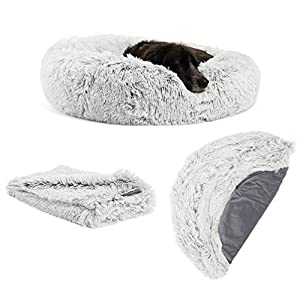 "Best Friends by Sheri The Original Calming Donut Dog Bed in Shag Fur – Bundle Value: Bed + Additional Shell Cover + Pet Throw Blanket, Frost, Medium 30″"" x 30″"""" (BND-BTS-SHG-FRS-30SM)"