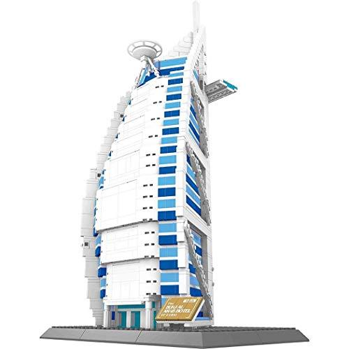 WANGE Hotel Burj al Arab de Dubai. Modelo de Arquitectura para armar con bloques de construcción