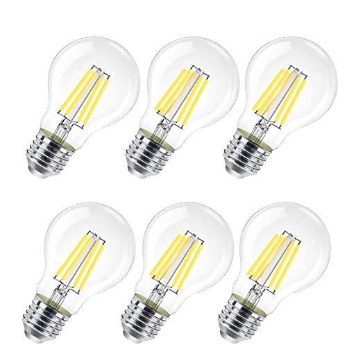 Lampadina LED E27, 8W (equivalenti a 80W), 800 lumen,Trasparente luce fredda- Pacco da 6