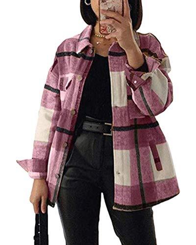 Minetom Kariertes Taschen Knöpfen Langarm Oversize Bluse Mantel Hemdjacke Holzfällerjacke Damen Mode E Rosa Medium