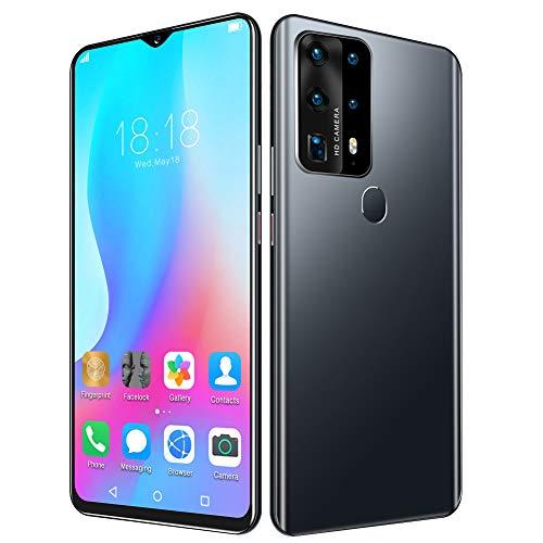T opiky Teléfono Inteligente de 6.52', Pantalla Completa, desbloqueo de Huellas Dactilares con reconocimiento de identificación Facial, 3 + 32GB, para Android 6.0, 2MP + 2MP, 2350mAh(Negro-UE)