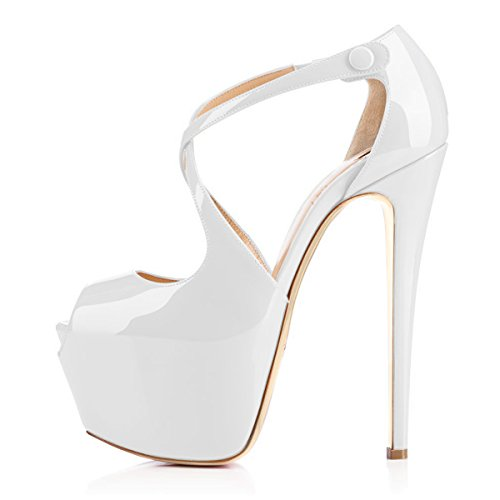 Damen Open Toe Plateau Stiletto High Heel Pumps Schluepfen Knoechel Cross Strap Buckle Party Schuhe (37, Weiss)