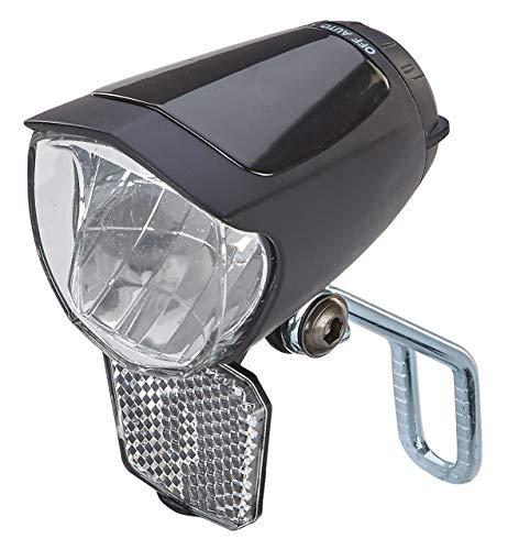 Prophete LED-Scheinwerfer 70 Lux, mit EIN-/Ausschalter, mit Standlicht und Sensorautomatik, Abnehmbarer Reflektor und Nirosta Halter, für Naben- und Seitendynamo schwarz, L - 3