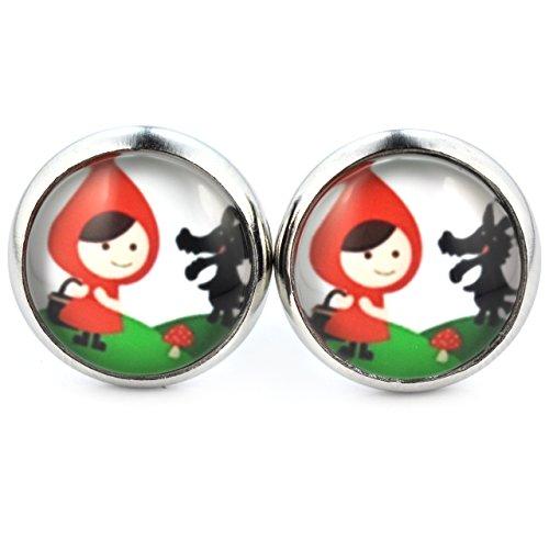 SCHMUCKZUCKER Damen Ohrstecker Motiv Rotkäppchen und Wolf Modeschmuck Ohrringe silber-farben 14mm