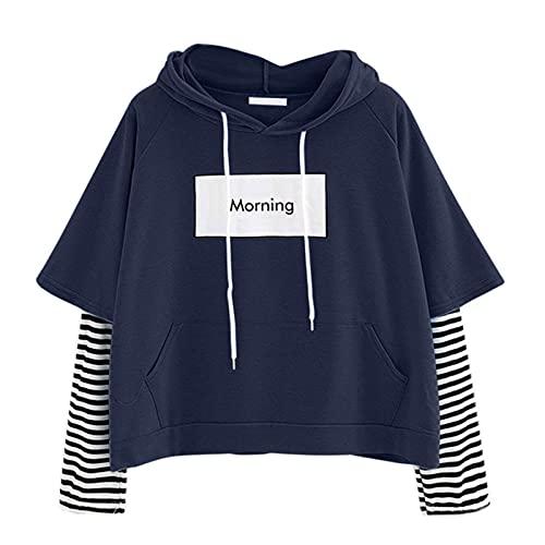 Cute Sweatshirt for Women Teens Girls Crop Stripe Patchwork Hoody Tops Anime Hoodie Kawaii Jumper Comfy Sweater Pullover