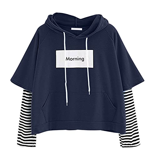 SHOBDW Womens Tops, Ladies Sweatshirt Hooded Pullover Long Sleeve Crop Patchwork Blouse Tunic Tops Stitched Striped Loose Sweater Basic Tee Shirts(Navy,XL)