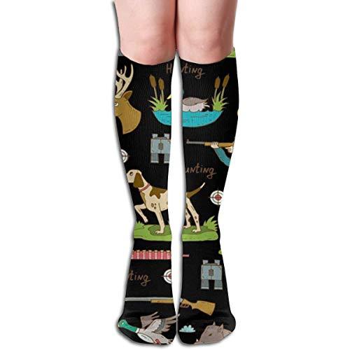 Dibujado a mano de colores de caza objetos hombres y mujeres compresión rodilla calcetines alta fitness novedad medias 50cm diseño elegante