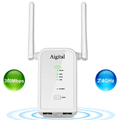 WiFi Extender Mini N300 Wireless WiFi Router Support Repeater/AP/Router Mode 2.4GHz WiFi Signal Amplifier with External Antennas and 2 Ethernet Port for High Wi-Fi Coverage