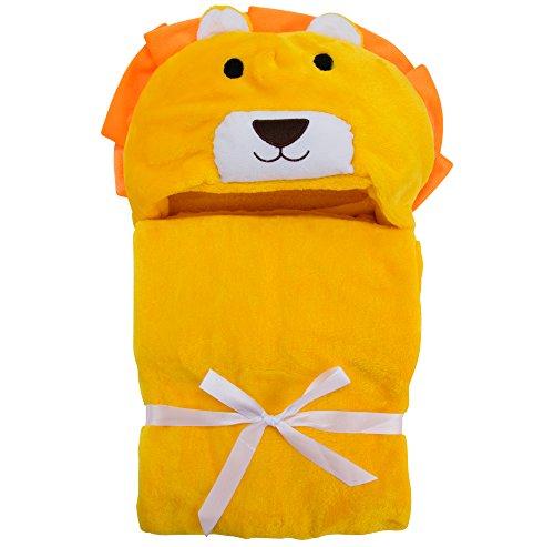 Asciugamano con Cappuccio per Neonati - Morbido Accappatoio Poncho in Microfibra per Bambini (Leone)