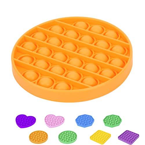 Pop Juguetes Antiestrés Sensorial Niños Adultos Silicona Juego Push Pop Bubble Fidget Toy (Modelo Círculo) [Forma Círculo Cuadrado Octógono Corazón Unicornio][1 Unidad] Naranja