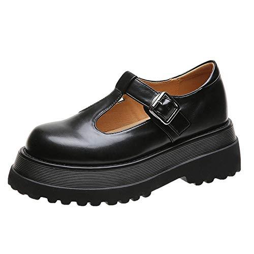 CELNEPHO Mary Jane - Zapatos de plataforma para mujer con correa en T para uniforme Lolita, zapatos planos para mujer, negro (negro (C-BLACK)), 37.5 EU