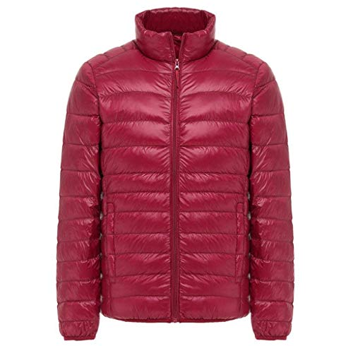 Herren Daunenjacke Mit Stehkragen Plus Jungen Ultra Size Lightweight Coat Fashion Jacke Lightdaune Daunenmantel Langarm Slim Fit Normallacks Steppjacke Outwear (Color : Rot, Size : 3XL)