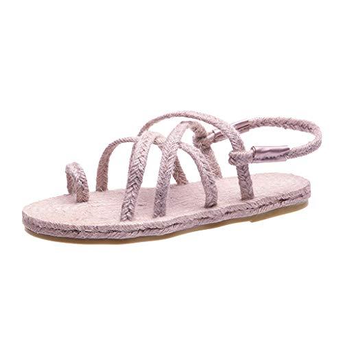 HDUFGJ Sandalen Damen Sommer Casual Weben Strand Schuhe Flat Open Toe Sandalen Outdoor-Schuhe Wedges Clogs komfortable Zehentrenner Leder BequemeLila(39.5)