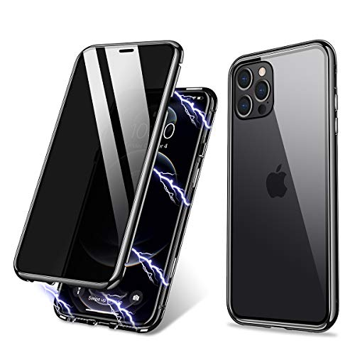 ZHIKE Compatible with iPhone 12/12 Pro Case Anti-Peep Magnetic Adsorption Case Front and Back Tempered Glass Full Screen Coverage One-Piece Design Flip Privacy Cover (Anti Spy Clear Black)