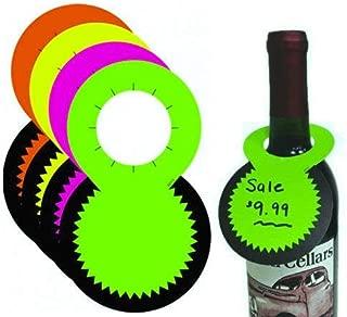 Fluorescent Bottleneck Tags, Wine & Liquor Neon Retail Sale Signs, 1.5