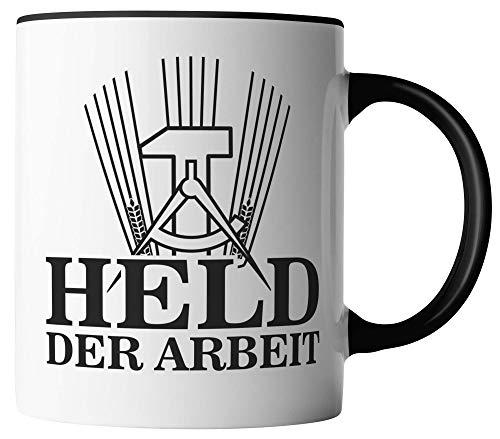 vanVerden Tasse - Held der Arbeit - beidseitig Bedruckt - Kaffeetassen, Tassenfarbe:Weiß/Schwarz