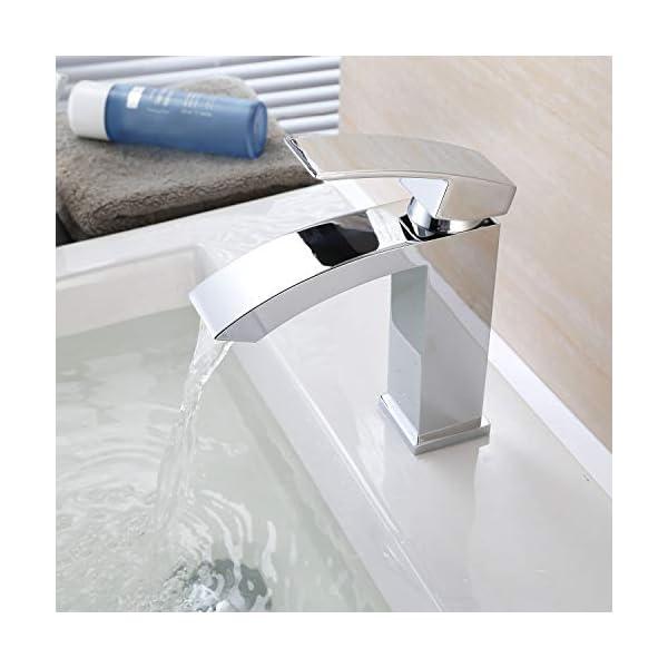HOMFA Grifo Lavabo con Agua Suave Caliente y Fría para Baño Grifos Baño Monomando Lavabo Brillante Cromado Conexión 3/8…