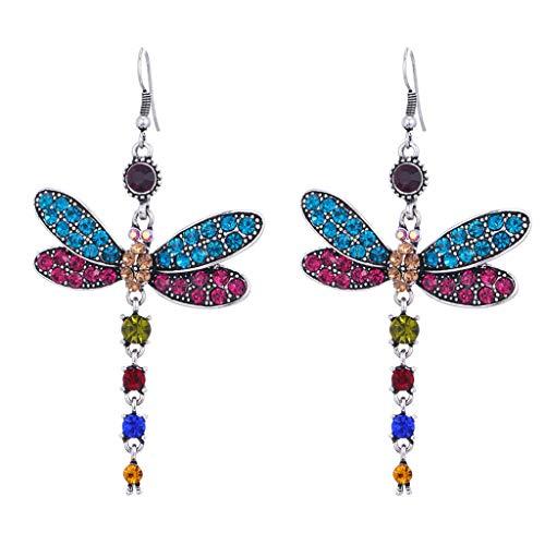 GUMEI Pendientes de Forma de libélula de circonita Multicolor con Incrustaciones de Moda