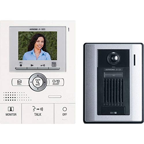 Aiphone JKS-1AED Audio/Video Single-Door Intercom Set with Picture Recording, Includes Master Station with Image Recording, Power Supply, and Surface-Mount Door Station