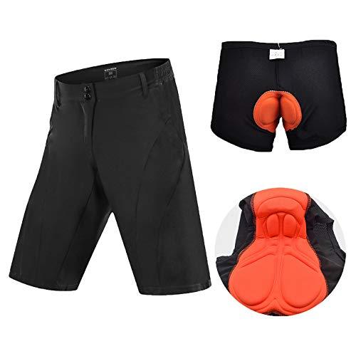 YQA Shorts-MTB para Hombre Reflexivo Shorts Impermeables y Transpirables, Pantalones Cortos de Ropa Interior de Ciclismo Cojín de Absorción de Impactos, with Bolsillo con Cremallera,Negro,Small