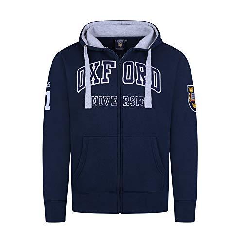 Oxford University Sudaderas con Capucha Cremallera Unisex Hombres Mujer Oficial con Licencia Ropa Bordado Hoodie Zip Mens Womens Top Sweatshirt (M, Azul Marino)