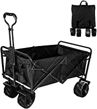 Collapsible Heavy Duty Folding Wagon Cart Utility Wagon with All Terrain Beach Wheels Adjustable Handle Large Capacity Rolling Buggies Outdoor Garden cart for Beach Camping Shopping Sports Portable
