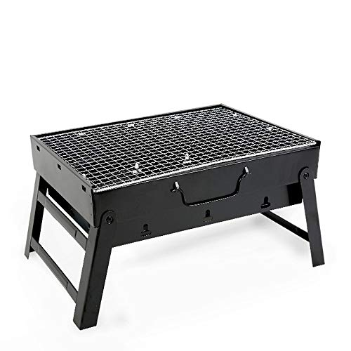 Best Ride On Cars Charcoal Folding Grill,Portable Barbecue Grill, Stainless Steel BBQ Grill Portable Camping Cooking Small Grill-Black