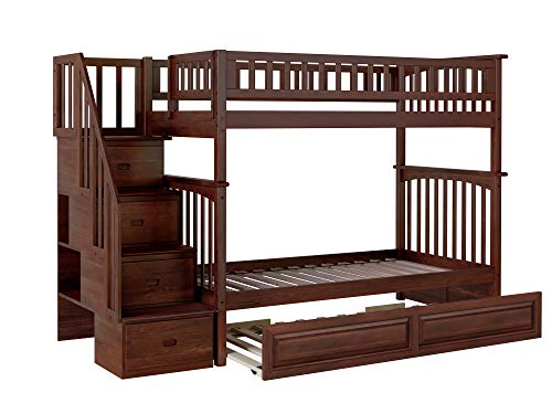 Atlantic Furniture Columbia Staircase Bunk Twin Size Raised Panel Trundle Bed, Walnut