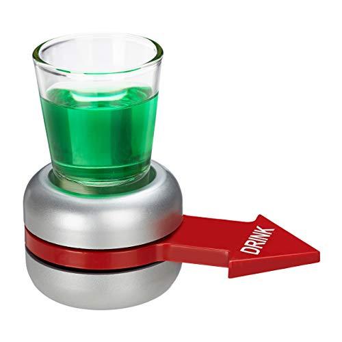 Relaxdays Trinkspiel Spin The, Flaschendrehen, roter Pfeil, 2 cl Shotglas, lustiges Partyspiel, Shot Spinner, grau
