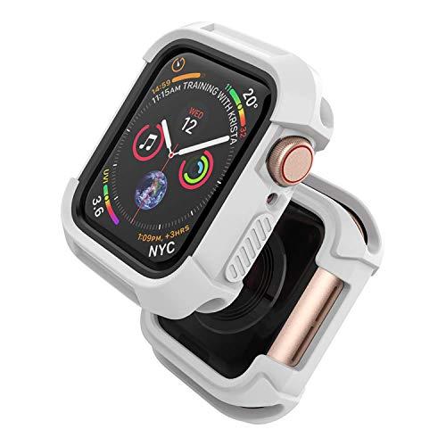 Chok Idea Custodia Compatible with Apple Watch 44mm,Rugged Guarda Protettivo Antiurto Bumper Protezione dello Schermo Cover Replacement for iWatch Series 5 & 4,White Black