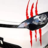 Pegatina reflectante para coche, 2 unidades, resistente al agua, diseño de monstruo, adhesivo de vinilo (rojo)