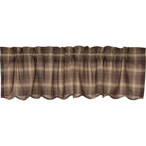 VHC Brands Rustic & Lodge Kitchen Window Curtains - Dawson Star Brown Scalloped Valance, 16x60