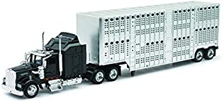 Shop72 Personalized This Diecast NewRay 1:43 Kenworth W900 Cab with Your Logo or Name for Promotional Use - Comes with Silver Livestock Trailer - Black Cab